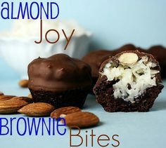 Almond Joy Brownie Bites -- Mini Brownies with Coconut Filling and an almond, dipped in chocolate.  One of my favorite party desserts!!