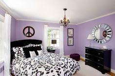 Children bedroom. Teen girls bedroom. Pottey Barn kids bedding. Maura Daniel lighting. Purple, black and white. Michelle Markert Interiors - Newton Center Residence