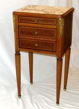 French Louis XV Commode Bedside Table with Ormolu and Marble Top