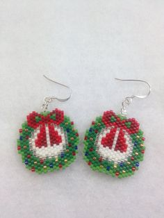 Brick Stitch Christmas Wreath Earrings by BeadingBeeCreations