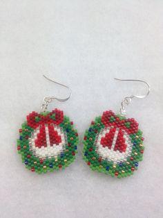 Brick Stitch Christmas Wreath Earrings