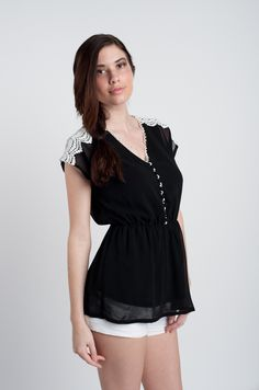 Black Chiffon Lace Short Sleeve Blouse with Lace Trim :)#Repin By:Pinterest++ for iPad#