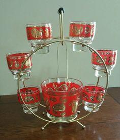 LOVE THIS Vintage Culver Red and Gold Paisley Barware Set, Mid Century Retro Mad Men Barware Set, Signed Culver Glassware, 50s Barware