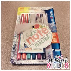 """""""Take Note You Are An Amazing Teacher"""" gift tag with flair pens and post-it note notepad, an useful gift for your teaching partners!"""