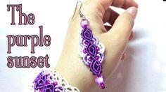 Macrame earrings tutorial: The purple sunset