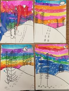 Math Worksheet : Mrs Knight s Smartest Artists Winter landscapes by grade Winter Art Projects Classroom Art Projects, School Art Projects, Art Classroom, First Grade Art, 2nd Grade Art, Kindergarten Art Lessons, Art Lessons Elementary, Kids Art Class, Art Lessons For Kids
