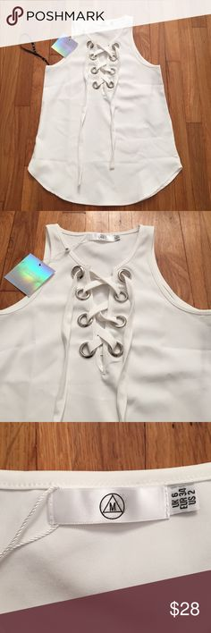 MISSGUIDED EYELET LACE UP CAMI TOP SIZE: 2 Never worn with tag Missguided Tops Tank Tops