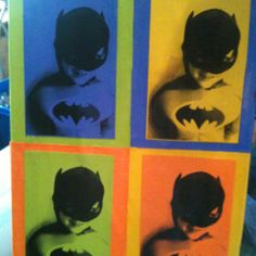 We got this idea off a pin of doing this for a kids picture.  We are redecorating my sons room in superhero so I had Him dress up in his batman costume.  We did mod podge onto a canvas instead of framing.  Fun activity and I loved the way it turned out.