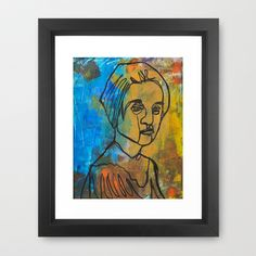 Caught Between Worlds Framed Art Print by Mike Brennan - $35.00 #acrylic #ink #line #drawing #contour #face #woman #girl #female #monoprint #printmaking #art