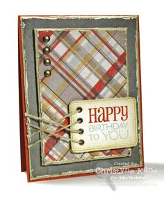 Stamps: Verve Birthday to You PJ, Verve Treasured Words  Paper: Really Rust, River Rock, My Mind's Eye - Darling Dear DP  Ink: Antique Linen, Really Rust, Sage Shadow, River Rock  Accessories: Verve Rounded Rectangle Die, 20lb. twine, brads, grommets