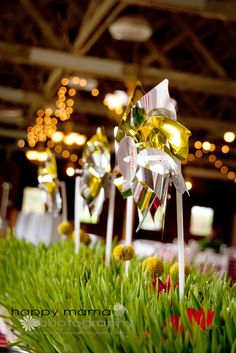 Seattle Camp Korey Wedding Garden Gnome themed reception with pinwheel kid's table.  Super cute and fun.