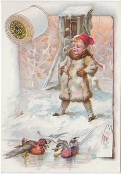 J & P Coats Spool Thread Ducks Slipping on Ice Snow Victorian Card Vintage Ephemera, Vintage Cards, Vintage Postcards, Vintage Sewing, Vintage Pictures, Vintage Images, Vintage Seed Packets, Sewing Cards, Picture Postcards