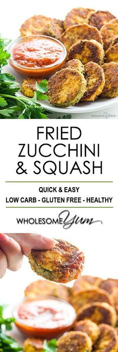 Easy Fried Zucchini and Squash Recipe (Low Carb, Gluten-free) - This easy fried zucchini recipe (fried squash) is healthy, crispy & delicious. Learn how to make fried zucchini and squash the healthy way with this recipe!