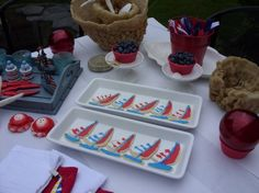 Nautical, patriotic party with sailboat cookies