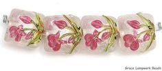 Grace Lampwork Beads SRA 10109314 Four Fuchsia Flower Pillow Beads