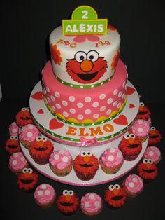 elmo birthday cake and cupcakes Elmo Birthday Cake Ideas