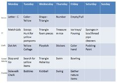 A weekly schedule for learning, for 2-3 year olds. I like this website!