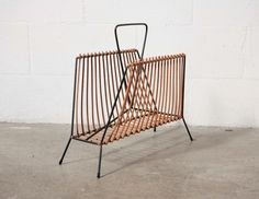 Retro Bamboo and Steel Magazine Rack
