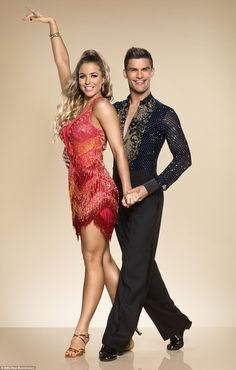 Ay ca-Rumba! Gemma Atkinson sizzled next in a daringly short red number, as she struck her first glamorous pose with a hand poised in the air with her partner Aljaz Skorjanec Strictly Dancers, Strictly Come Dancing, Strictly 2017, Samba, Shirley Ballas, Gemma Atkinson, Partner Dance, Ballroom Dress, Ballroom Dancing