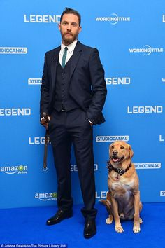 Tom Hardy and Woody - Legend World Premiere - London, Sep. Tom Hardy Wife, Tom Hardy Dog, Tom Hardy Legend, Woody, Charlotte Riley, I Love Beards, Fur Accessories, My Tom, Raining Men