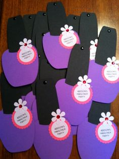 These cute nail polish shaped invitations are a great way to invite your guest to a party.  This listing is for 8 invitations.  Each is made using cardstock and textured cardstock paper. The invites are embellished with a gemstone, tag and flower. There is a brad attached to the top of the invitation for easy opening. The measurement is almost 8 x 3 1/2 inches. Envelopes included  The info on the tag and invitation can be customized. Please include the following info when ordering: name,...