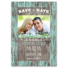Rustic Charm - Save the Date Card   Huge selection of colors to choose from and you can get a free sample. Check out http://www.annsbridalbargains.com