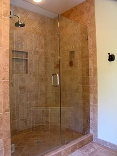 Enchanting Bathroom Tile Idea for Every Bathrooms : Amazing Bathroom Tile Idea Brown Interior Marble Style Glass Door