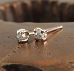 14k Rose Gold Uncut Diamond Studs Rough by PointNoPointStudio