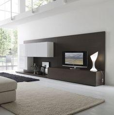 Ideen für Wohnzimmer-Wohnwand Design mit Fernseher-Schrank-Led lampe