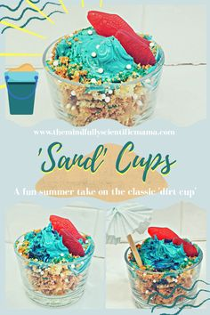 A fun take on the classic dirt cup, this dessert cup is perfect for parties, birthdays, rainy days, or any day. Click to read how to help your children create their own. Absolutely delicious, adorable, and super easy to make! Beach Theme Desserts, Summer Desserts, Fun Desserts, Summer Recipes, Summer Food, Gold And White Cake, Yummy Treats, Sweet Treats, Dirt Cups