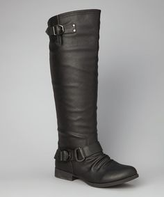 Look what I found on #zulily! Black Buckle Land Boot #zulilyfinds. This is only $21.99. I may get it.