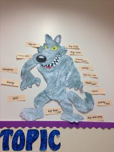 Wolf from Red Riding Hood display item. Used for adjective work! Year 1 or KS1