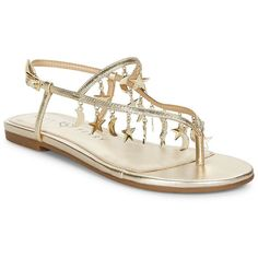 Katy Perry Women's Celeste Star and Moon Thong Sandals ($99) ❤ liked on Polyvore featuring shoes, sandals, pewter, leather upper shoes, rubber sole sandals, toe thongs, thong sandals and flat thong sandals