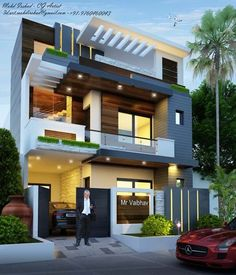 Best House Exterior Design to Fulfil Your Desire Modern House Facades, Modern Exterior House Designs, Exterior Design, 3 Storey House Design, Bungalow House Design, House Outside Design, House Front Design, House Architecture Styles, Architecture Design