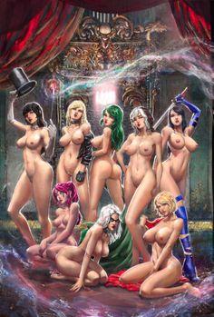 Nude female superhero set