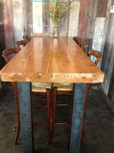 Blacks Farmwood provided reclaimed wood furniture tables for the Blue Barn Restaurant in Corte Madera, CA. Reclaimed wood comes from deconstructed buildings