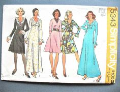 Uncut Simplicity 5343 Early 1970s One-Piece Maxi or by Fancywork