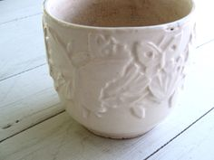 Vintage Nelson McCoy USA White (A) Pottery Planter Butterfly Pattern by lookonmytreasures on Etsy
