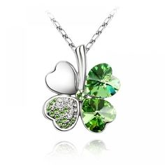 Gold Plated Swarovski Elements Crystal Four Leaf Clover Pendant Necklace (Peridot Green), 18 inches Swarovski Crystal Necklace, Rhinestone Necklace, Crystal Pendant, Crystal Rhinestone, Swarovski Crystals, Flower Necklace, Heart Pendant Necklace, Pendant Jewelry, Fashion Necklace