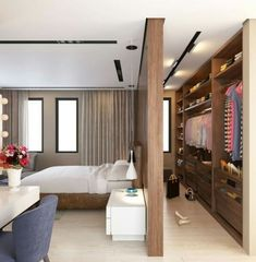 Wall divider walk in wardrobe #bedroom