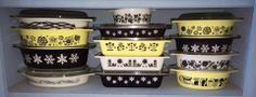 Black, white, and yellow Pyrex