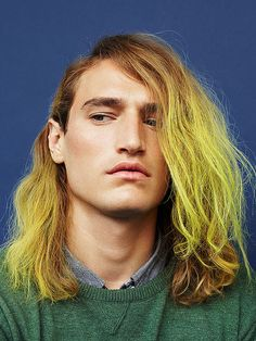 Photography Justin Borbely at The Book Agency Hair Stylist and Colourist Lok Lau at CLMusing Bumble & bumble Stylist Mark McMahon Make Up Emma Broom using MAC Cosmetics Models Glen, Joshua and James P at FM, Kazunori, Caleb, Gabriel and Kyle at Mens Hair Colour, Hair Color, Color Bug, Yellow Hair, Neon Yellow, Fantasy Hair, Hair Photo, Messy Hairstyles, Textured Hair