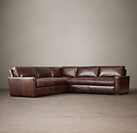 """The Petite Maxwell Leather Corner Sectional  90""""W x 90""""D x 31""""H  $6615 Special.       Classic Corner Sectional: 98""""W x 98""""D x 34""""H Luxe Corner Sectional: 118""""W x 118""""D x 34""""H 40"""" Classic or 46"""" Lux depth"""