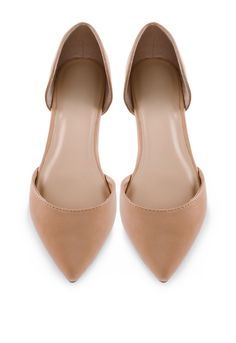 It's a fashion victory! These Cosette Flats in nude feature faux leather in a ballet flat styling with a pointed toe and D'orsay styling. Cushioned insole and rubber bottom sole with nonskid markings.