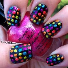 rainbow polkas -Inspired Nails - Sign up for the @Nail Art Society for $9.95/mo. We will curate n deliver the latest tools,polishes accessories for u to try out the newest nail art trends at home!