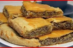🔹Meat pie on the yogurt with minced🔹 / Chief-Cooker Russian Honey Cake, Romanian Food, Icebox Cake, Pastry And Bakery, International Recipes, Diy Food, Yummy Cakes, Kefir, Food To Make