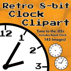 Easy to read analog clock with a cool, retro video game look. Time to the nearest 5 minutes. Includes a blank clock. 145 600 x 600 PNG Images (.PNG files work with nearly every popular program including powerpoint, word, publisher, google docs, google slides, adobe indesign, etc)