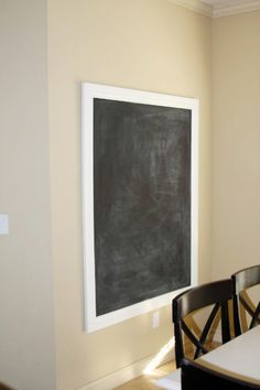 diy framed magnetic chalkboard tutorial.  i would love to do this in our kitchen, but i have a huge empty wall.  not sure what else to put up with it...one big gigantic chalkboard?