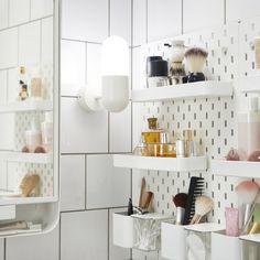 SKÅDIS Pegboard, white - IKEA Bathroom storage instead of spice racks Ikea Bathroom Storage, Bathroom Hacks, Wall Storage, Bathroom Furniture, Small Bathroom, Ikea Makeup Storage, Bling Bathroom, Disney Bathroom, Ocean Bathroom