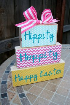 via Etsy - Easter Block Set, Easter Sign, Easter vinyl Blocks, Easter Bunny Blocks, Easter Decor, Holiday Decor